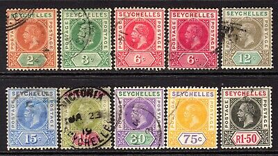 Seychelles KGV 1912-16 to 1r.50 SG71-80 Used (Missing the 45c)