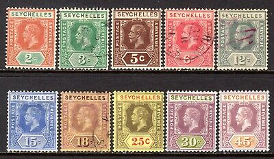 Seychelles KGV 1917-22 (Wmk Multi CA) Set to 45c SG82-91 M/Mint-Used
