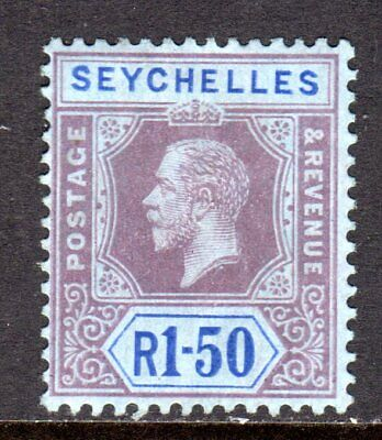 Seychelles KGV 1917-22 (Multi CA) 1r.50 Reddish Purple & Blue/Blue SG95 M/Mint