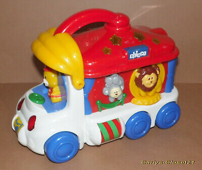 CHICCO * Vintage Circus Bus Activity Toy * Lights / Animal Sounds * 26cm Long *