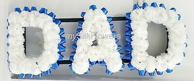 DAD Artificial Silk Funeral Tribute Any 3 Letter Name Flower Wreath NAN SON MUM