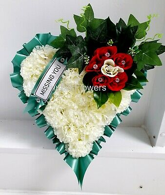 Artificial Silk Funeral Heart Wreath Tribute Flower Memorial Rose Mum Dad
