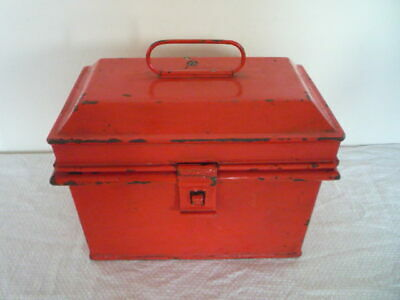 ~~* Small Antique Painted Red Deed Box Tin Box Safe Box Toleware *~~
