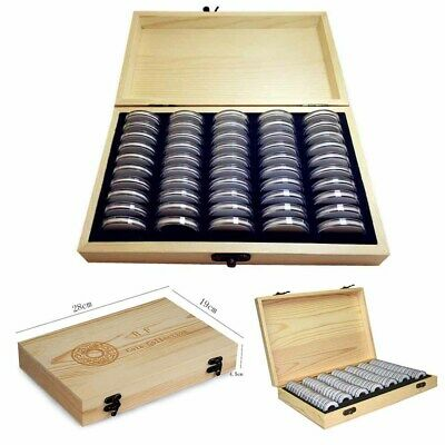 UK Wooden Coins Collection Display Storage Box Case for Coin 50/100 Capsules