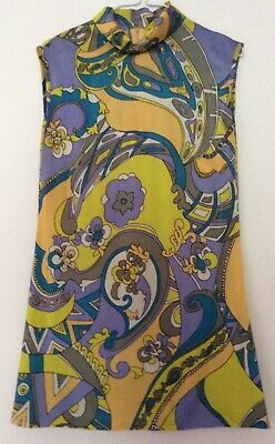 vintage 60s psychedelic lilac & yellow flared trousers & tunic 6 8 10 Pucciesque