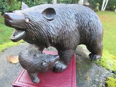 """Early C20 Swiss Black Forest Carved Bear with Cub Bavarian Ex 7"""" Long"""