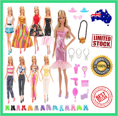 Barwa Lot 5 Sets Fashion Casual Wear Clothes With 10 Pair Shoes For Barbie Doll