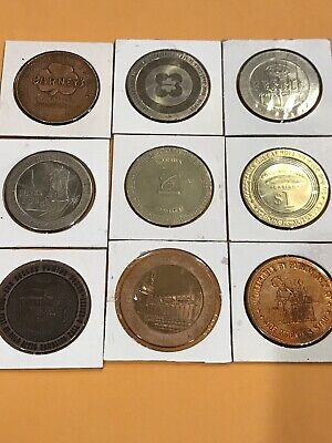 LOT OF 9 $1 ONE DOLLAR hotel casino gaming TOKENS Mostly Nevada (Lot #11)