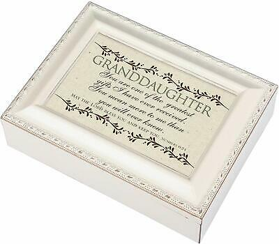 Granddaughter Greatest Gift Ivory Finish Jewelry Music Box Plays Tune Ave Maria