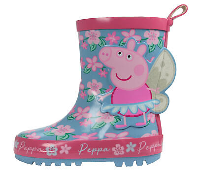 Peppa Pig Floral Pink Wellies Wellington Rubber Boots UK Sizes Child 5-10