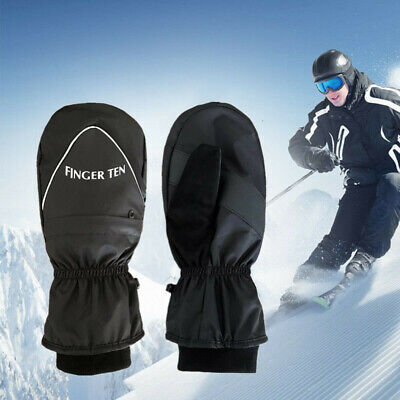 Men Ski Mittens Waterproof Warm Winter Snow Snowboard Thermal Zipper Gloves US