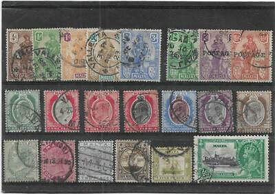MALTA  QUEEN VICTORIA to KING GEORGE V USED ALL DIFFERENT STAMPS COLLECTION