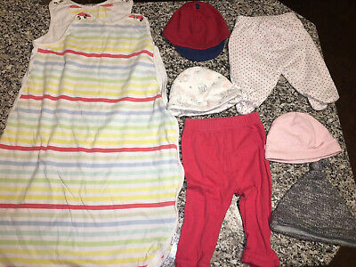 Girls Baby Clothes Bundle 0-3 Months - Sleeping Bag - 4 Hats - 2 Trousers
