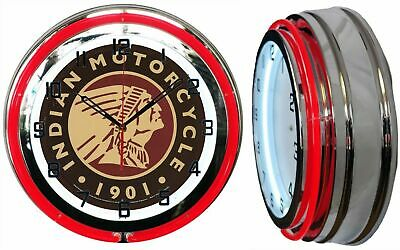 """18"""" Indian Motorcycle 1901 Sign Red Neon Clock Chrome Finish"""