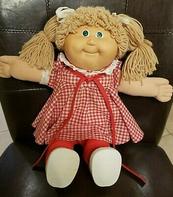 """1986 Cabbage Patch Kid 16"""" Doll Original Outfit Red Dress Shoes Diaper Pigtails"""