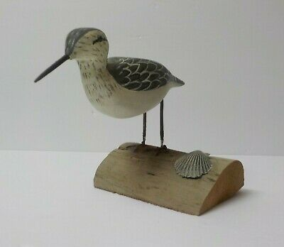 """Hand Carved & Painted 4.75"""" Shore Bird, signed Dot Quillen (#4)"""