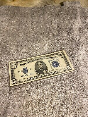 1934D $5 BLUE Seal SILVER Certificate! Old US Paper Money Currency!