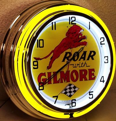 """18"""" Roar with GILMORE Sign Double Neon Clock"""