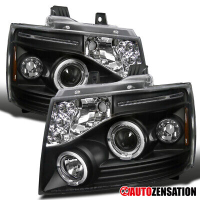For 2007-2013 Avalanche Tahoe Suburban Black LED DRL Halo Projector Headlights