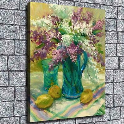 """12""""x16""""Oil painting flower pot HD Canvas print Home Room Decor Picture Wall"""