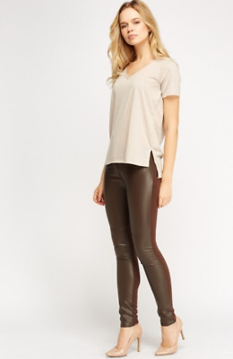 #C233 Dark Brown Faux Leather Fronted Trousers With Ribbed Back Size 6