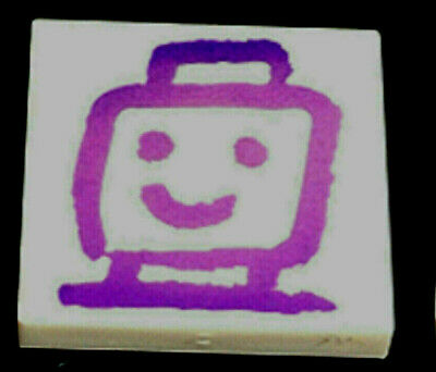 Lego 1 x White Tile 2 x 2 with Dark Purple Minifig Head Drawing Pattern
