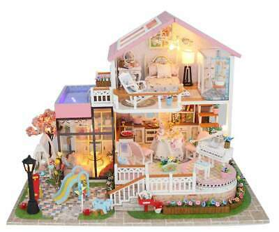 DIY Dollhouse Furniture Kits 'Sweet Words' Wooden Miniature Doll House w/ LEDs a
