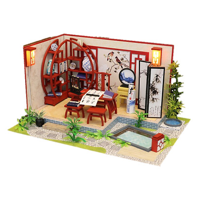 DIY S921 'Ink Bamboo in Breezing' Wooden Miniature Dollhouse w/ LEDs, Dust Proof