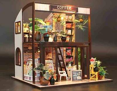 DIY Miniature Doll House 'Coffee Time' w/Dust Cover Glues and LEDs Handmade gift
