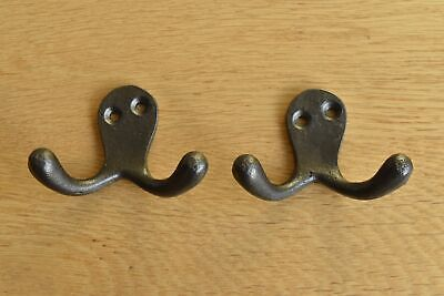 Pair Of Classic Antique Style Double Coat Hook Cast Iron Hook R9