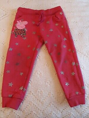 Girls PEPPA PIG Joggers Pink with Silver Stars size 2-3 years