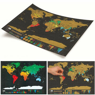 Deluxe Scratch World Off Poster Map Journal Log Giant Map Of The World Gift