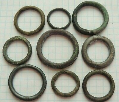"Lot of 9 Ancient Celtic Proto Money Bronze Rings ""Coins"" Circa 400 BC"
