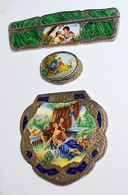 3 PC LOT ITALIAN Vintage 800 SILVER & Enamel  COMPACT COMB & PILL BOX