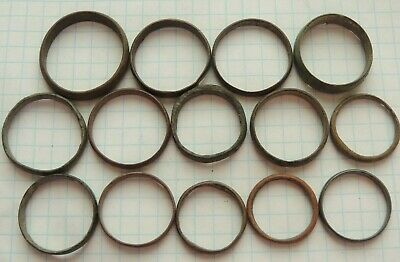 CELTIC ANCIENT BRONZE PROTO MONEY RINGS-PRE COIN LOT OF 14 pcs