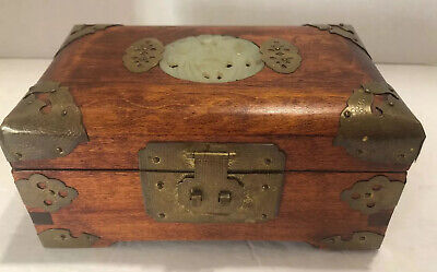 "Vintage Shanghai China Wood Jewelry Trinket Box Brass Carved Stone Inlay 6""-4""-3"