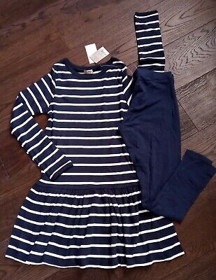 Girl's AGE 14 YEARS NEXT Navy Striped Soft Long Sleeve Jumper & Leggings Set