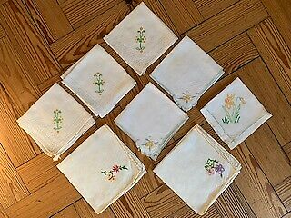 Vintage Linen and Cotton Embroidered Tray Cloths, Mats and Napkins