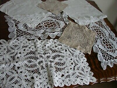 Lot of 8 vintage crochet, lace, embroidery, linen, doilies, mats table covers