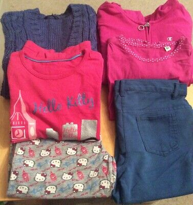 Girls 5 Piece Bundle -cardigan,hoody,top,trouser,pjs 9-10 Years .