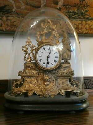 Antique french  clock in glass dome case