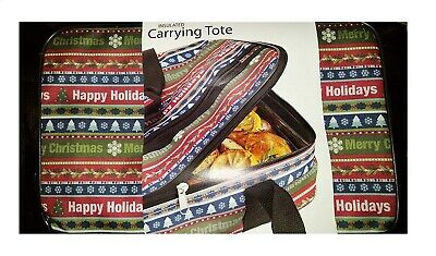 Insulated Casserole Carrying Tote Happy Holiday Merry Christmas