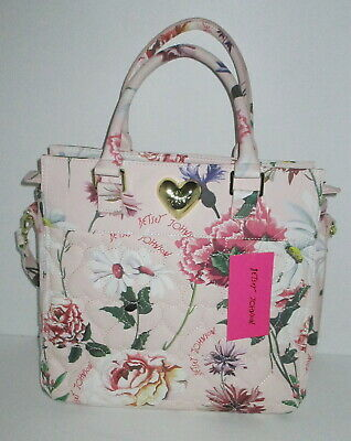 Betsey Johnson Large Pink Floral Tote NWT BM21435 $98 Quilted Roses Hearts Daisy
