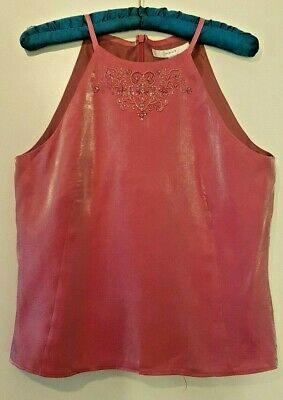 Pink Sparkly Next Halter Beaded and Sequined Top by Next - Size 12 - Party Wear
