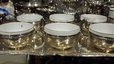 875g STERLING SILVER (916) SET OF 6 CUPS XIX CENTURY on a CARVING FLOWER tray