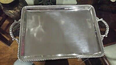 600g HIGH CLASS STERLING SILVER HANDLE TRAY OF MONTEJO PEARL STYLE