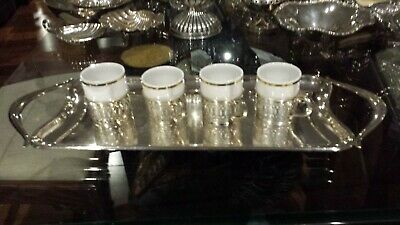 560g STERLING SILVER SET OF 4 CUPS  on COFFEE SERVER tray