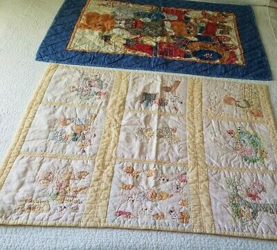 """2 Handmade Baby Bed Quilts Blue 30 x 39"""" Yellow Hand Quilted 30 x 34"""" Unused"""