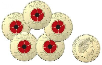 2018 Australian $2 Armistice Red Poppy Coin Mint Bag (5 Coins) Lest We Forget.