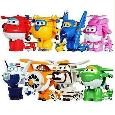 8Pcs TV Animation Super Wings Toy Transforming Plane Mini Characters Kids Toys